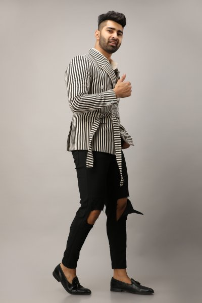 Men's Printed Striped Blazer
