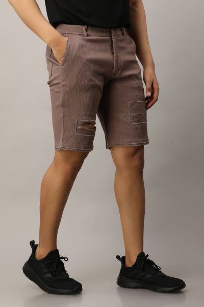 Men's Textured Ripped Shorts