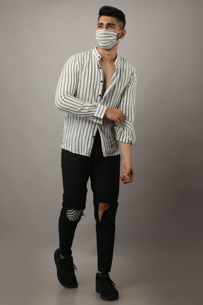 Men's Two-Layered Striped Shirt