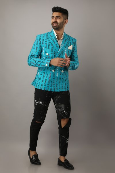 Men's Printed Teal Blazer