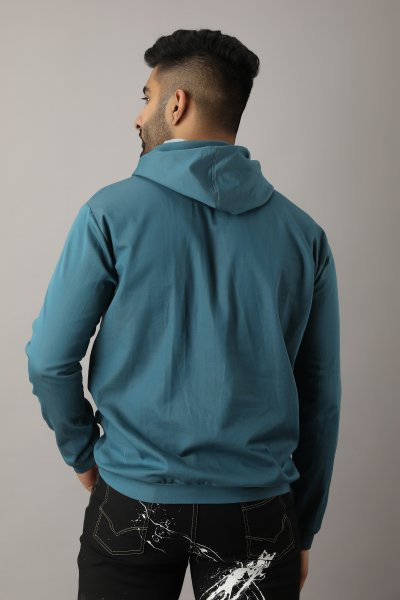 Men's Hoodie In Teal Blue