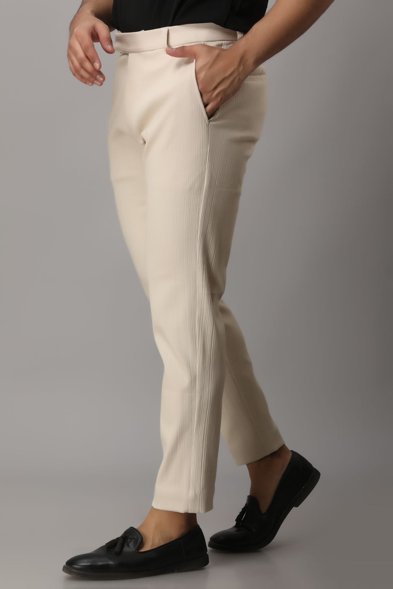 Textured Tailored Fit Pants
