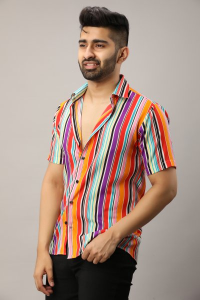 Men's Multicolor Flowing Striped Shirt