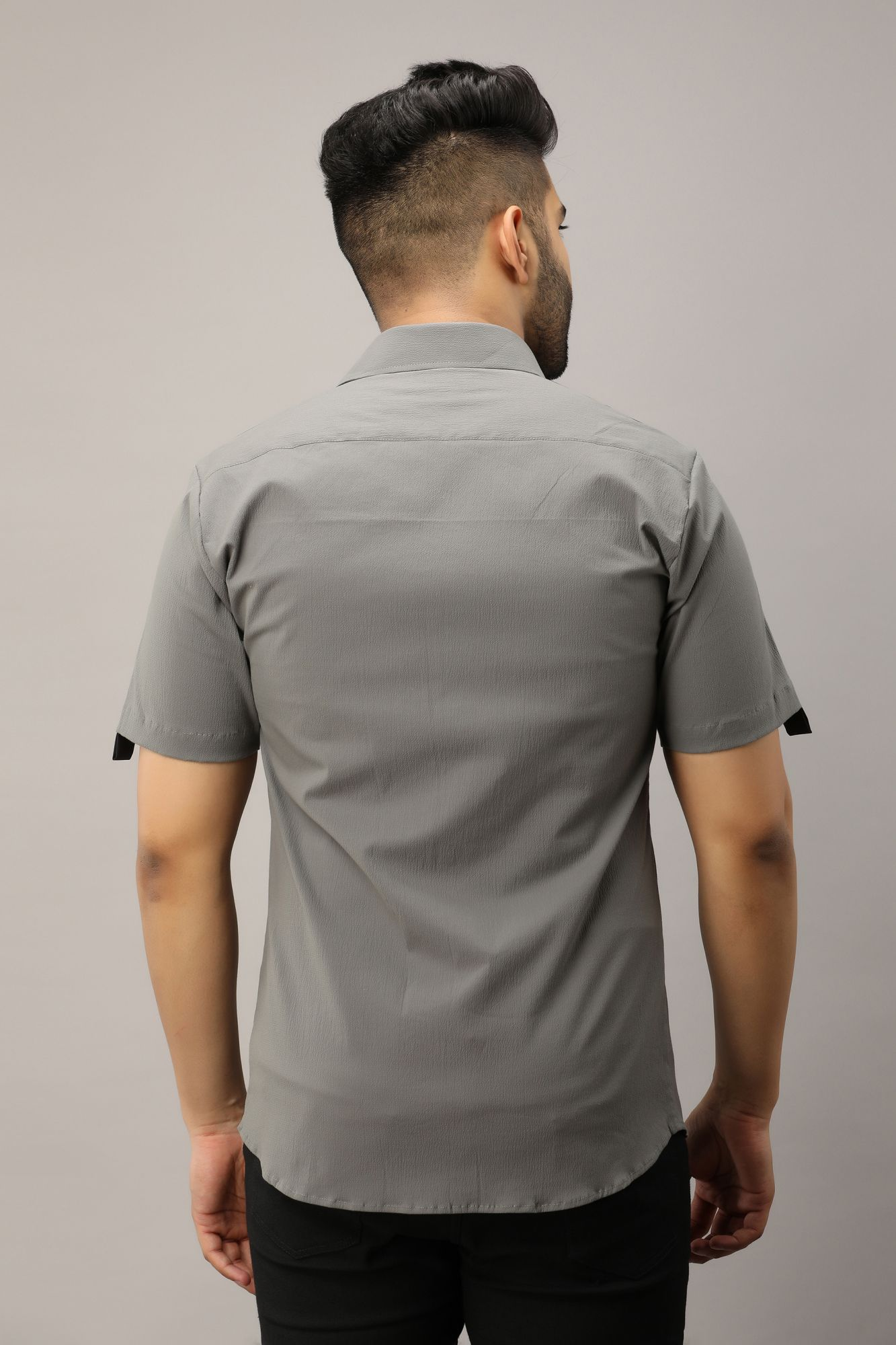 Side Taped Shirt In Grey
