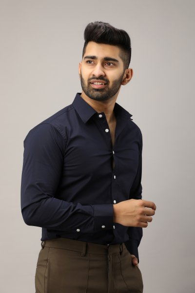 Men's Slim Fit Shirt In Navy Blue