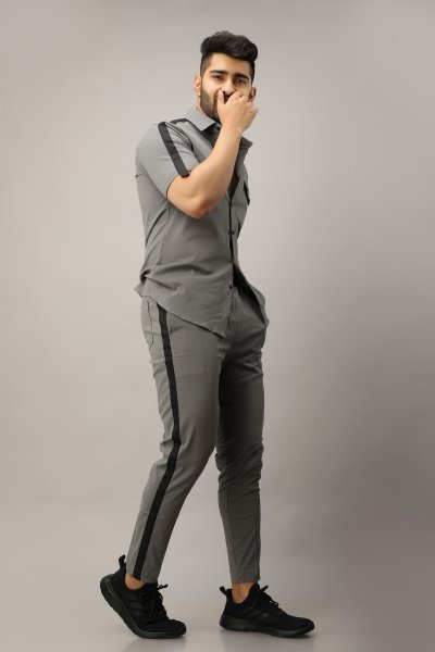 Men's Side Taped Joggers In Grey