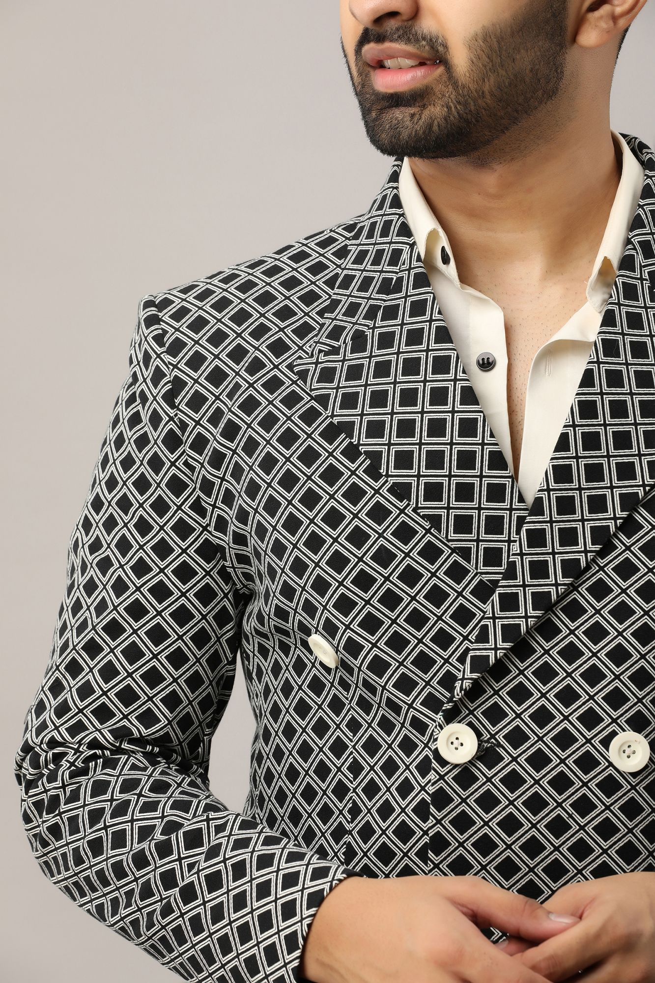 Printed Double Breasted Blazer