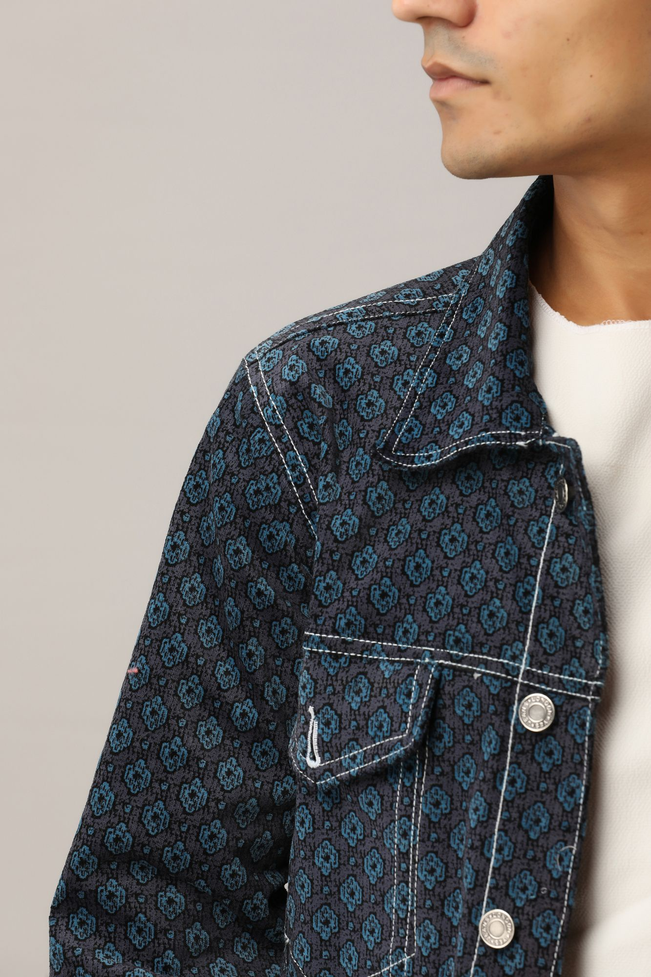 Printed Velvet Jacket in Dark Blue