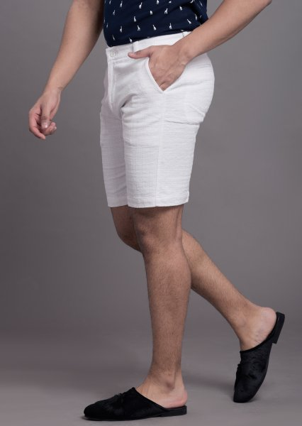 Textured shorts in white