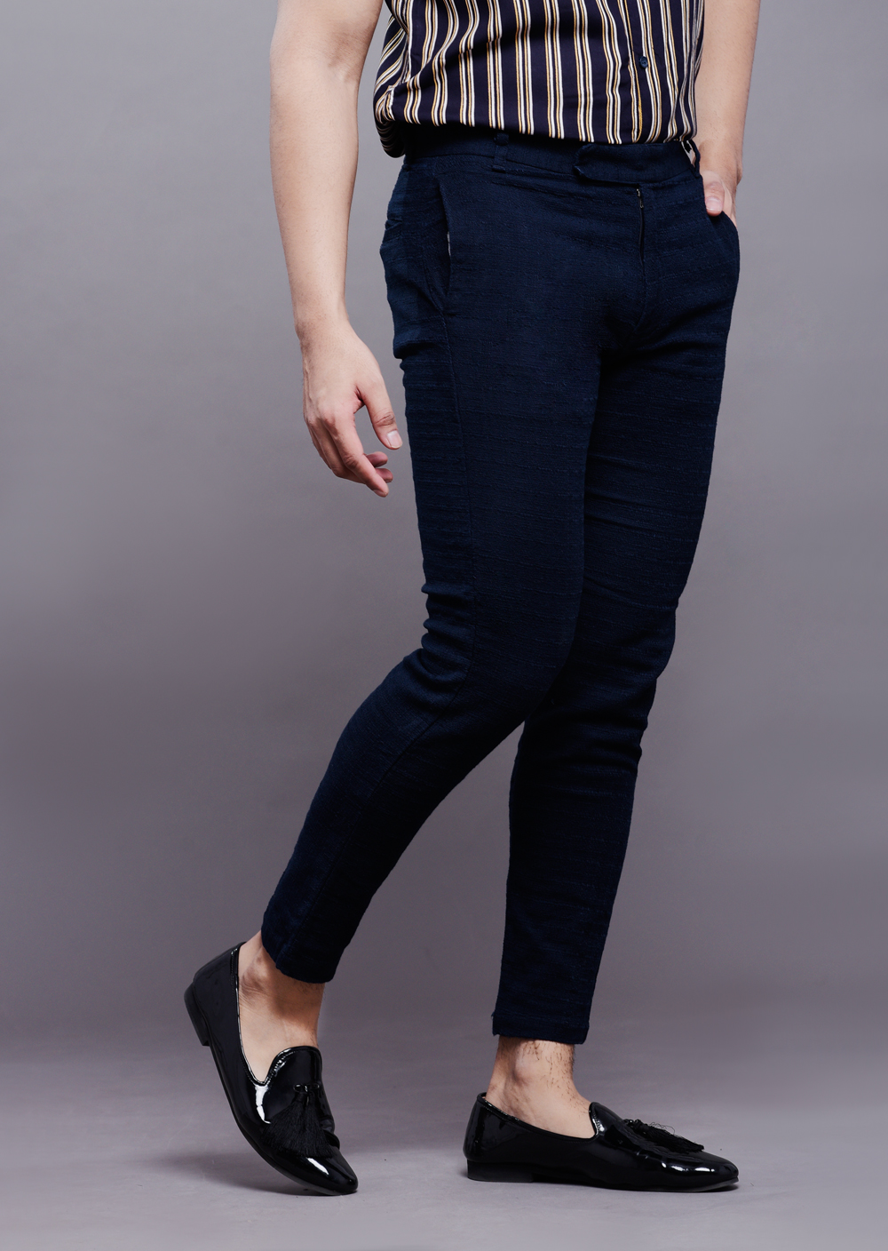 Textured pants in blue
