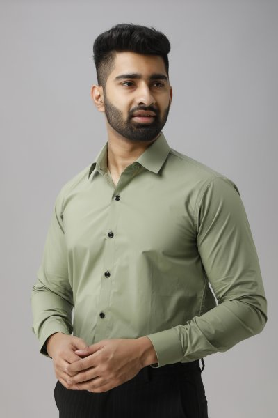 Men's Off-green Slim Fit Shirt