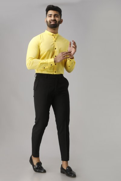 Men's Mandarin Slim Shirt in Yellow