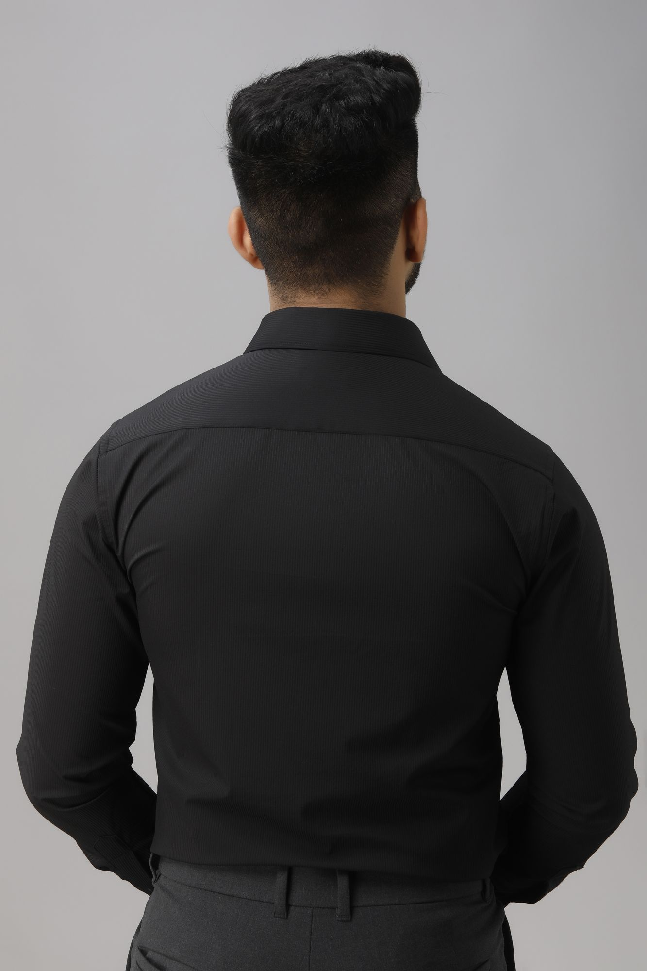 Textured Slim Fit Shirt in Black.