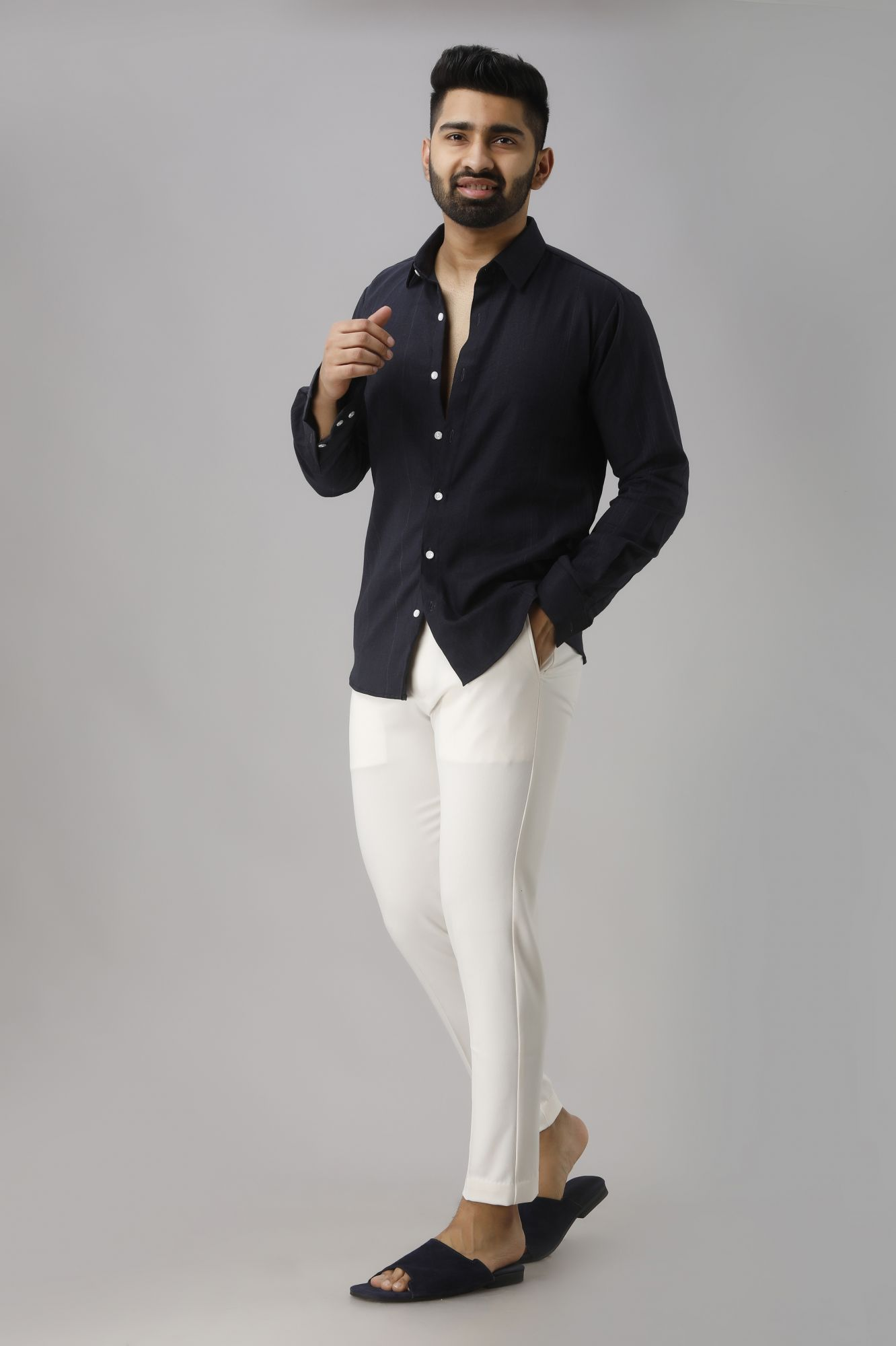 Slim Fit Shirt In Navy Blue