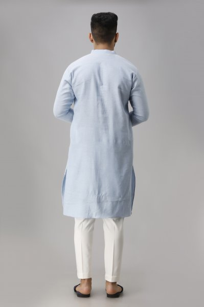Men's Textured Sky Blue Kurta
