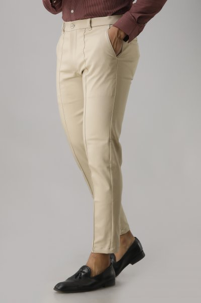Men's Solid Ivory Tapered Pants