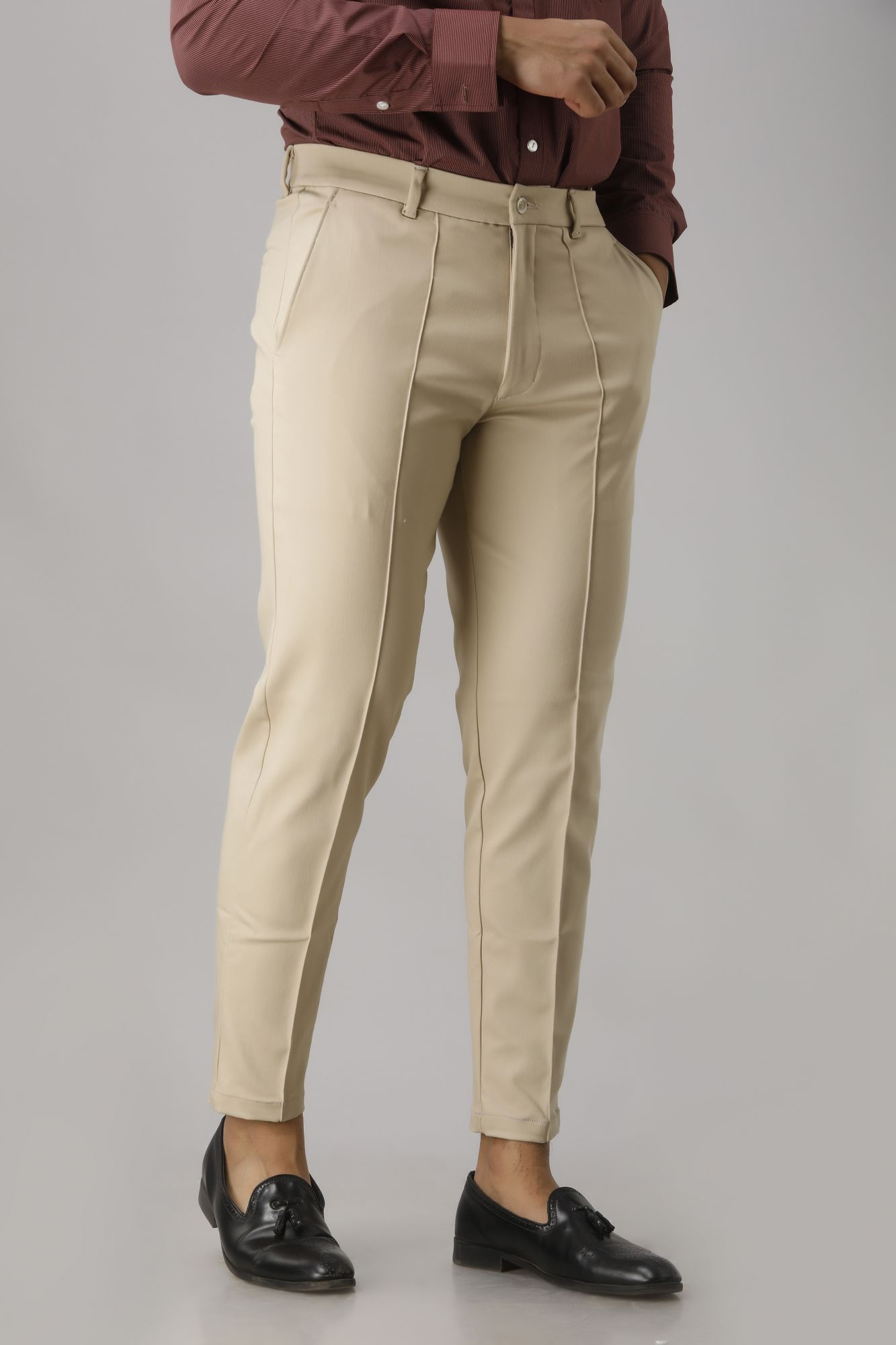 Solid Ivory Tapered Pants