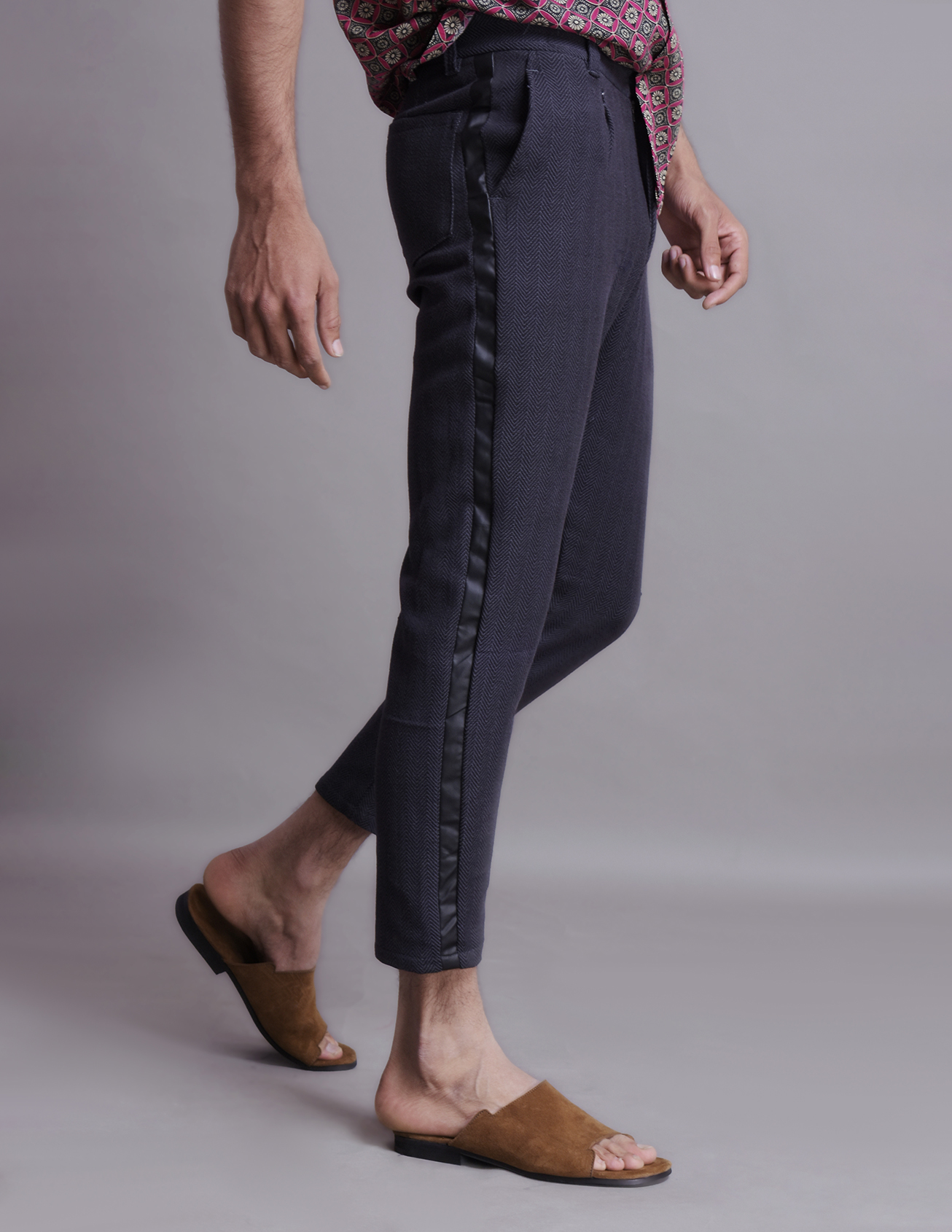 Textured pants with leather side tapes