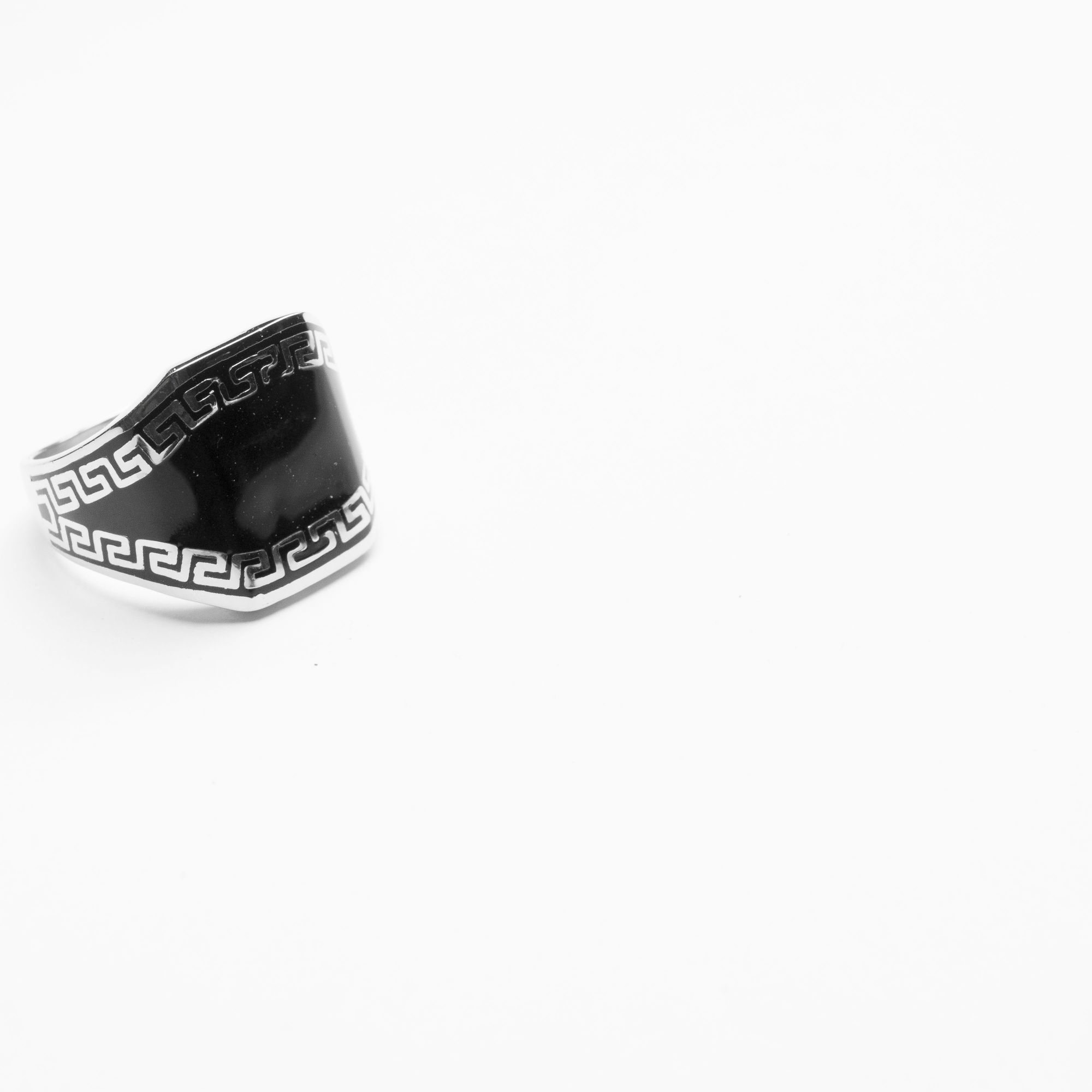 The Wide Top Patterned Carbon Enamel Men's Solid Sterling Silver Ring