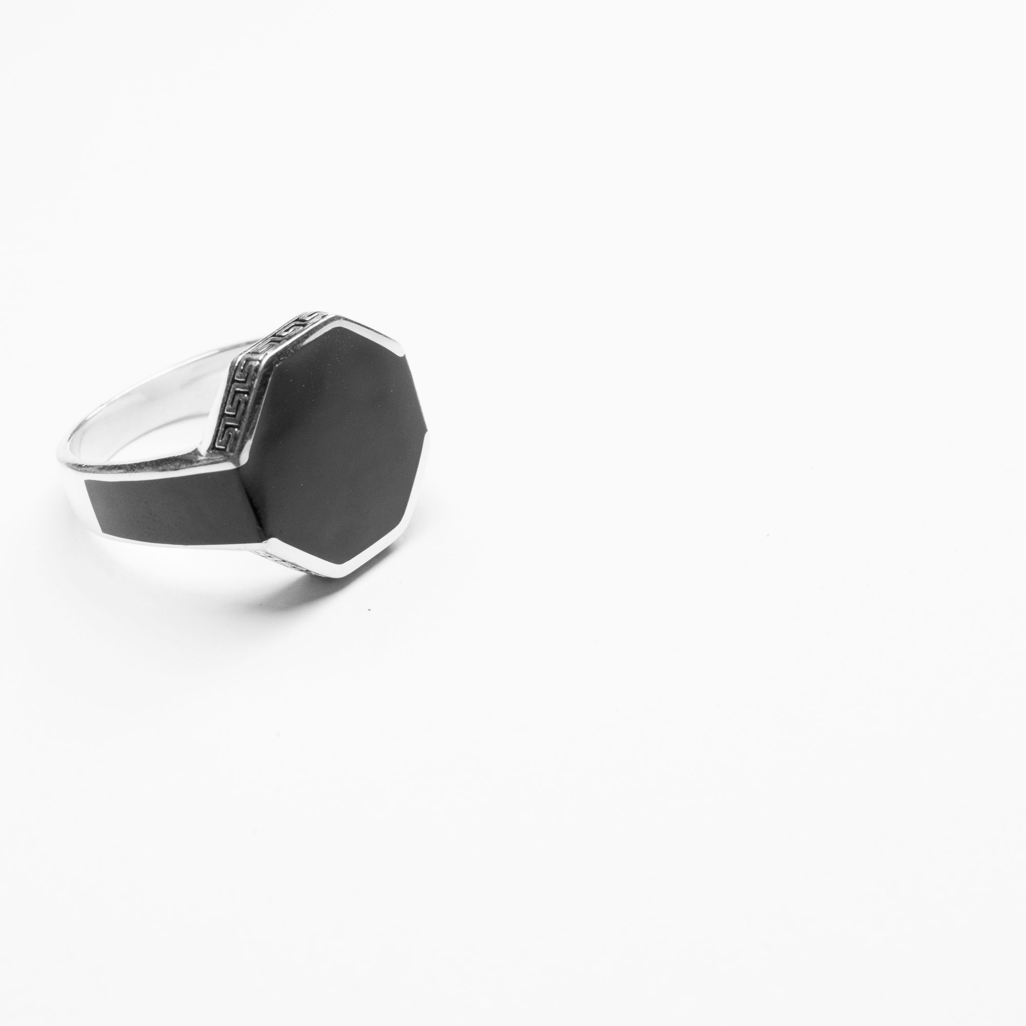 The Octo Head Carbon Enamel Men's Solid Sterling Silver Ring