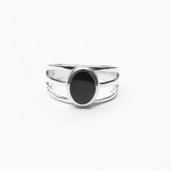 The Oval Carbon Enamel Men's Solid Sterling Silver Ring