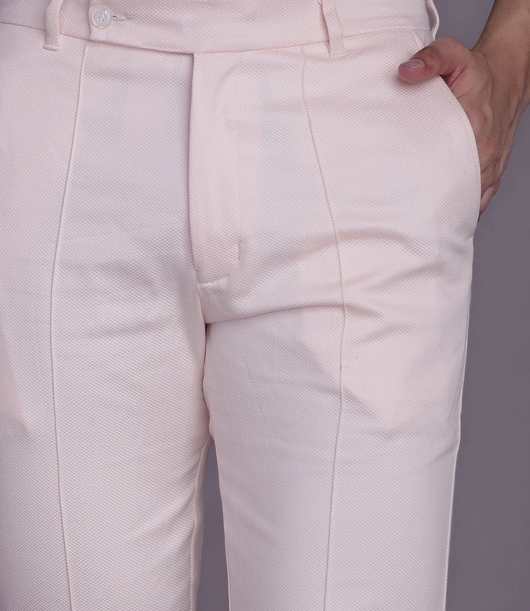 Textured Pants in Pink