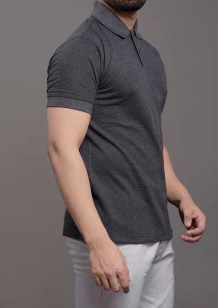 Men's Polo tshirt in solid grey