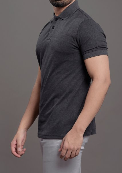 Polo tshirt in solid grey