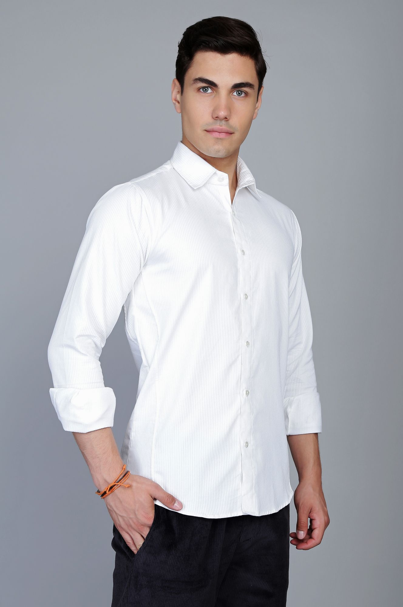 Textured Formal Shirt in White
