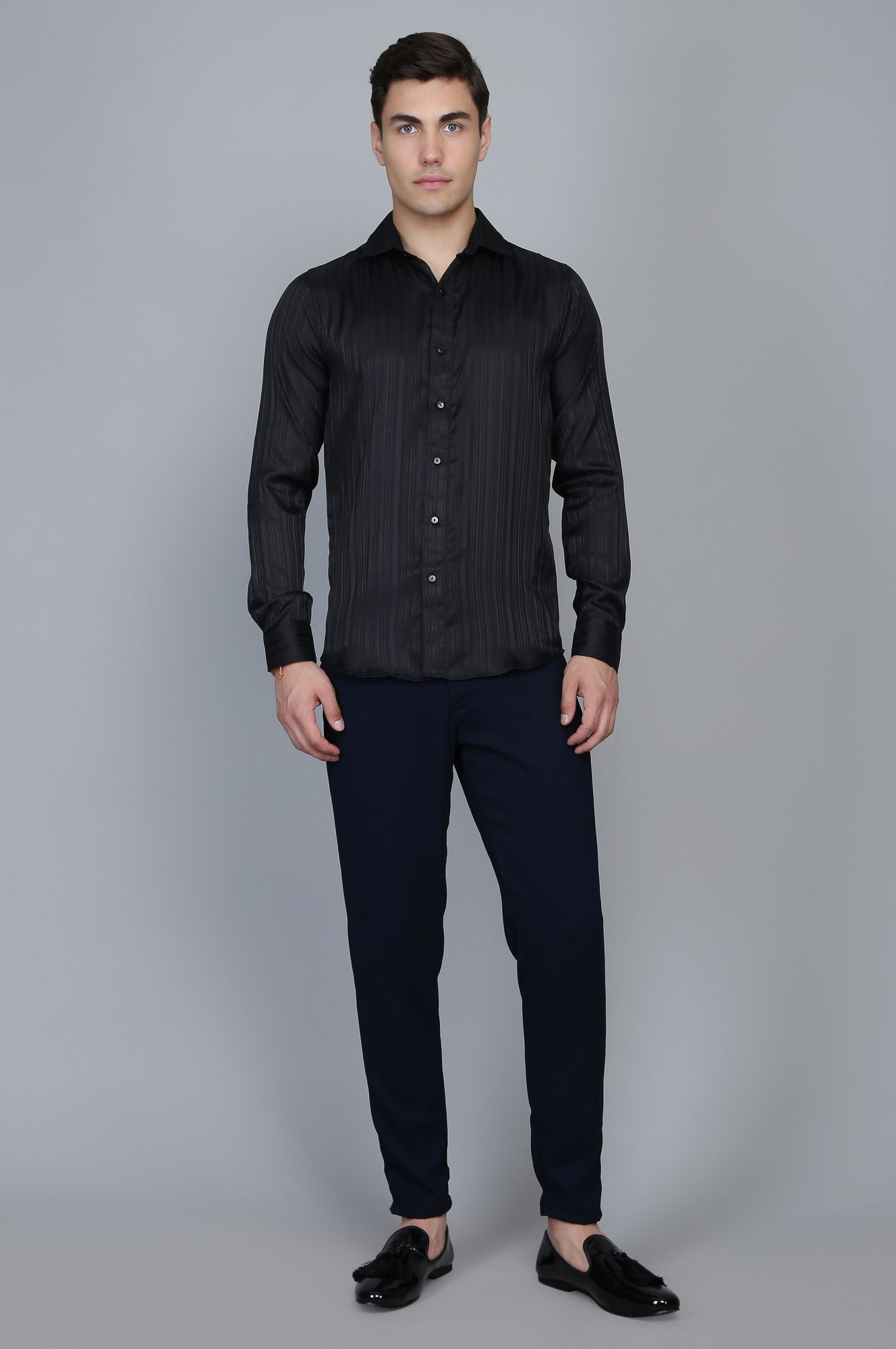 Formal Shirt in Black Self Stripes