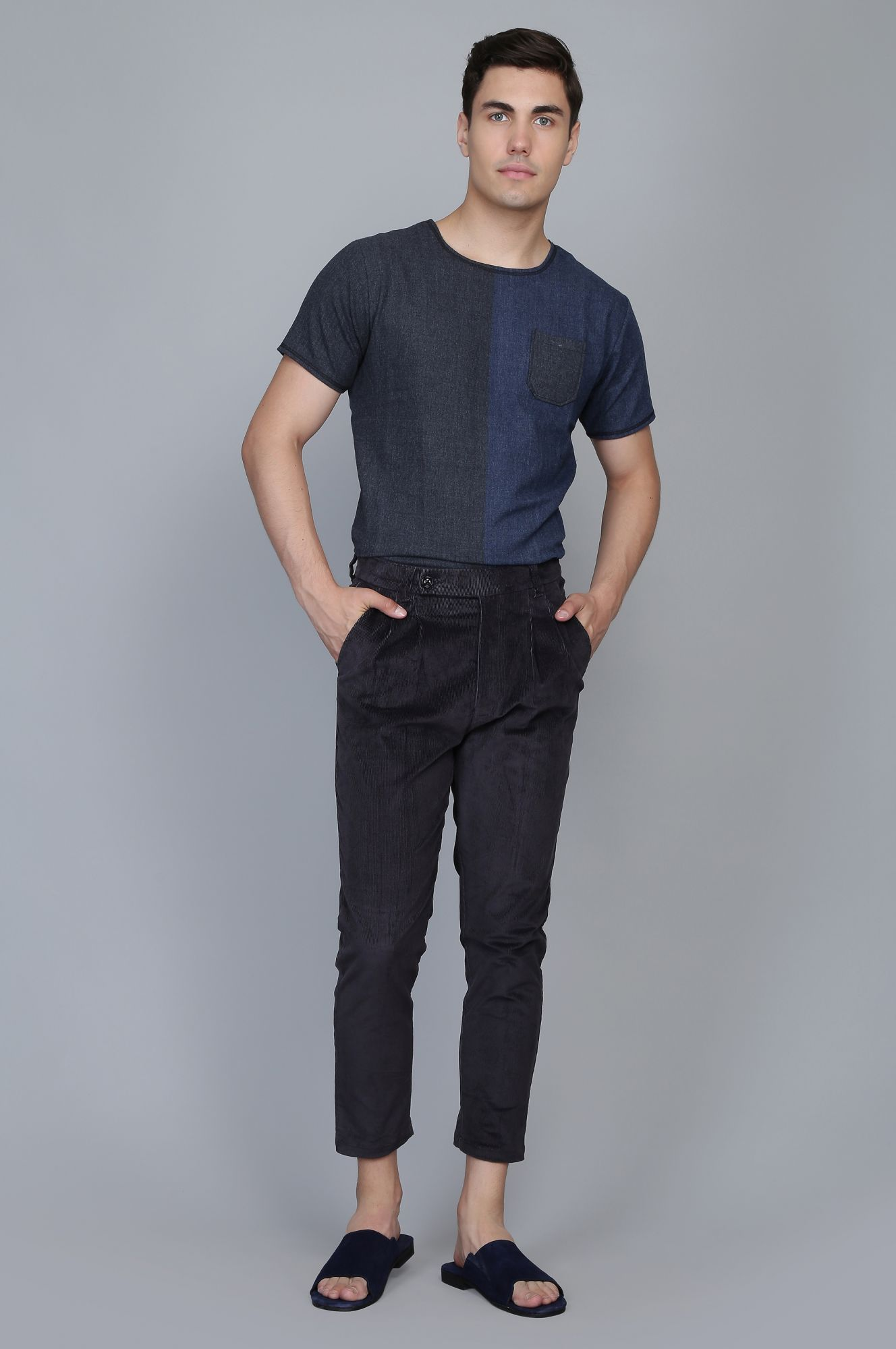 Men's Corduroy Ankle Pants in Black
