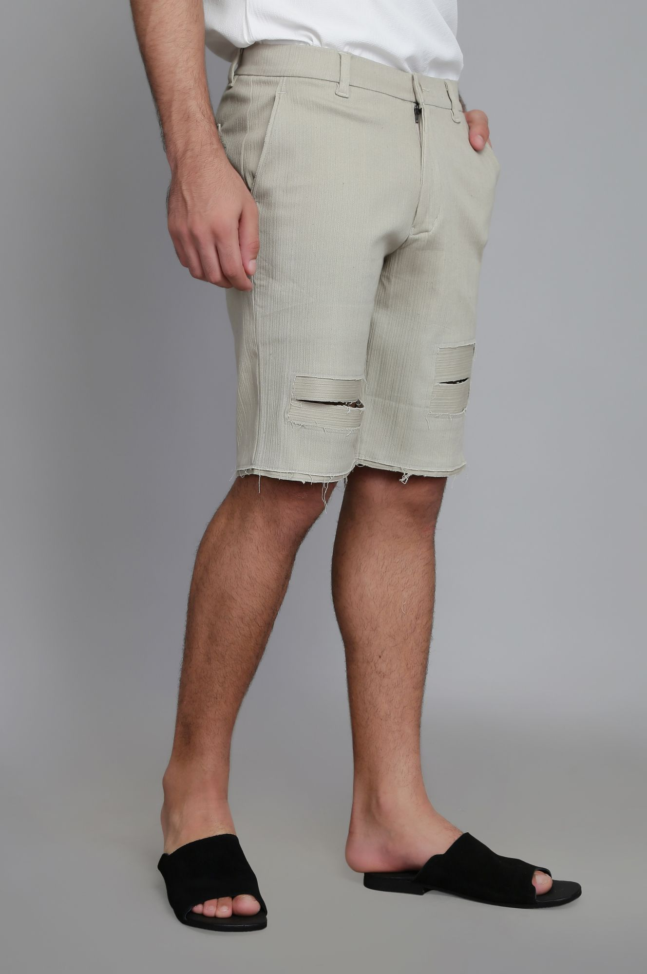 Ripped Textured Shorts