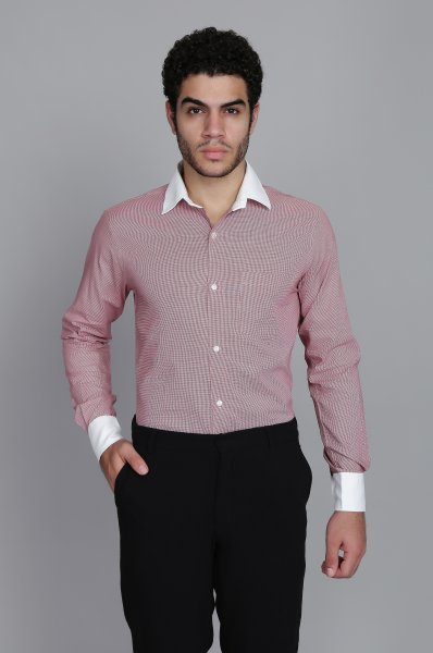 Men's White Collar Printed Shirt