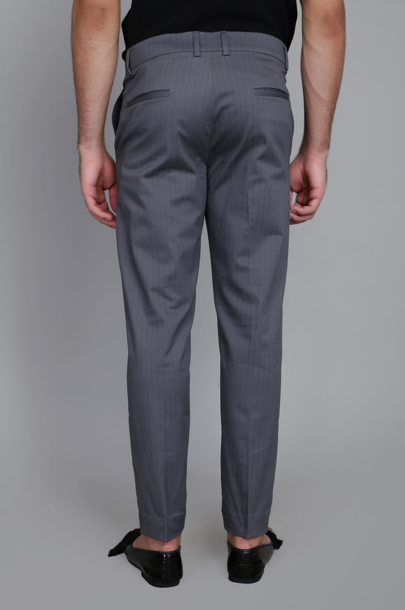 Striped Tailored fit pants in Grey