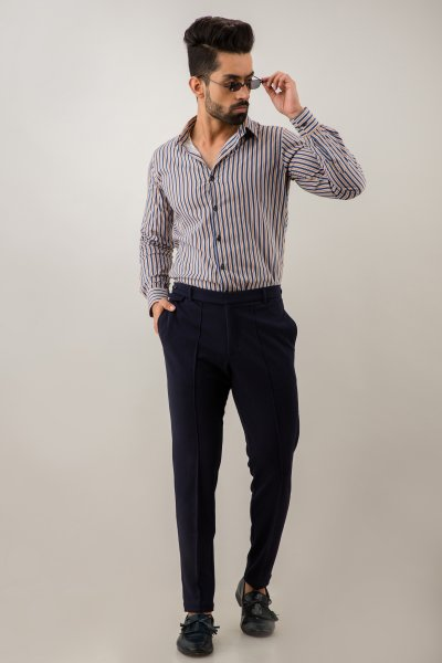 Tapered Navy Blue Pants