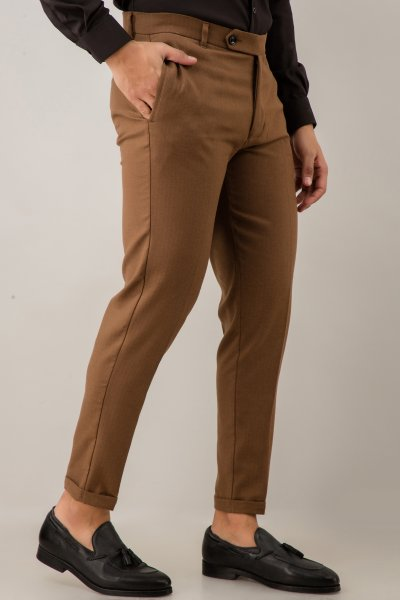 Tailored Fit Pants In Brown